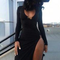 Vestidos informales Tileewon con cuello en v bodycon fiesta club nocturno mujeres sexy dividido largo vestido elegante delgado flejo femenino negro otoño