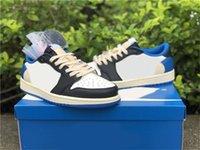 2021 Travis Scott Framment Authentic 1 Basso Militare Blu 6 British Khaki Man Shoes 1s High OG TS SB Cactus Jack Dunk Suede Suede con scatola originale Sport all'aperto