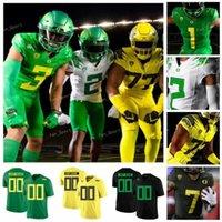 NCAA College Oregon Утки Джастин Герберт CJ Verdell Kayvon Thibodeaux Tyler Shake DJ Johnson Custom Football Tribersys Зеленые Белые Чернокожие Мужчины Женщины Молодежь