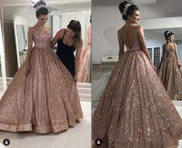 Glitter Gül Altın V Boyun Backless 2022 Meksika Quinceanera Gelinlik Modelleri Charro Prenses Boncuk Balo Tatlı 16 Elbise Vestidos 15 Ano