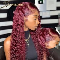 Lace Wigs Afro Kinky Curly 99J Red Burgundy Colored 13x6 HD Transparent Frontal Human Hair Front Wig For Black Women Pre Plucked