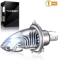 NOVSIGHT H4 9003 HB2 Led Headlight Bulb Motorcycle, High & Low Beam Light Conversion Kit, 6000LM Plug and Play Error Free for Motorbike Light 6000K White