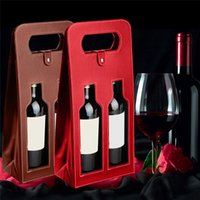 Wholesale Wine Bags High-Quality Red Wine Carrier Gift Packing Box with Leather Tote Hollow Wine Bag