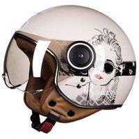 Motocicleta capacete capacete capacular 3/4 face aberto vintage moto casque casco capacete homens mulheres moto scooter