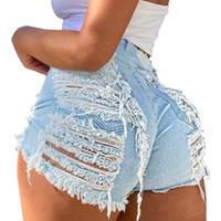 Jeans da donna Plus Size Light Blue RIPPED Cut Out Denim Shorts Donne Streetwear Boyfriend Torn Hollow Jegging BAGGY Hole