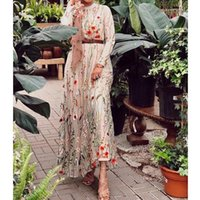 Casual Dresses Julypalette VintageFloral Printed Woman Long Sleeve Dress Fashion Lace Embroidery A-line Elegant Ladies Maxi