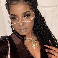 New Fashion eyeglasses Alloy Frame for Women green and Red Gem Lensless Chain Pendant Half Frame Luxury Diamond glasses T200108