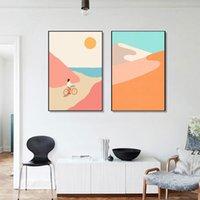 Resim Sergisi Soyut Dağ Poster Sunset Beach Bisiklet Tuval Boyama Nordic Duvar Sanatı Baskı Sörf Morden Resim Yaşamak için HWD7723