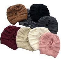 Hiver Criss cross Poneytail Bonnet de la laine chaude Chapeau tricoté de la queue de queue de queue de queue de queue de queue de queue de chapeau de chapeaux hiver hiver hiver hha1597 518 r2