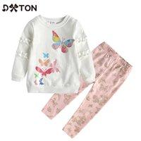 Dtton Winter Mädchen Kleidung Sets Kleinkind Baumwolle Kinderanzüge Schmetterling 2 Stück Kinder Sets Rüschen Langarm T-Shirts und Hosen