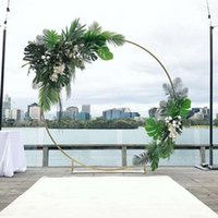 Decorative Flowers & Wreaths Wedding Artificial Flower Arch Party Event Round Backdrop Metal Iron Ring Stand Baby Shower Circle Decor