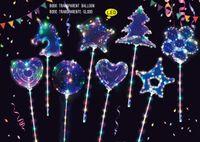 Оптовая 20 дюймов Unicorn Bobo Boko Balloon Прозрачные светящиеся светодиодные воздушные шары с 70см палкой свадебные украшения для вечеринки шар формы дерева и звезда
