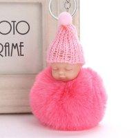 الحلي لطيف pompom سلسلة المفاتيح النوم الطفل مفتاح سلسلة رقيق وهمية الفراء الكرة المرأة حقيبة سيارة pompon الدائري بوم حامل هدية
