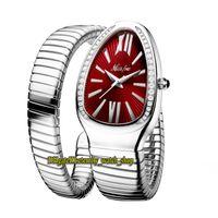 MISSFOX 2686-1 Relojes de la señora de la moda Red Dial Movimiento de cuarzo Womens Watch Iced Out Diamonds Bisel Steel Case Pulsera de plata