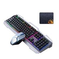 Teclado Mouse Combos Combos Gaming Set Backlight Wired USB Ergonômico Mecânica Mecânica Gamer RGB 104Keys para Tablet Desktop