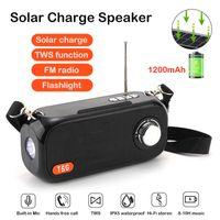 Portable Bluetooth Speaker Solar Charge Wireless Bass Column FM Radio Outdoor Flashlight Speakers AUX TF Subwoofer Loudspeaker
