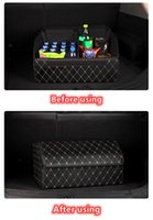 Car Organizer Storage Bag PU Leather Trunk Box Folding Stowing Tidying For SUV