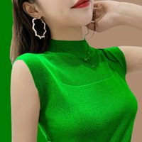 Women's Sweaters spring and summer without slings sleeves vest students'female t-shirt Korean version of the short-sleeve sweater QQL4