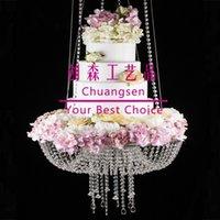 Lampadario grande acrilico, supporto sospeso in cristallo sospeso, supporto per torta nuziale da 60 cm / 45cm