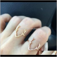 Band Fashion Antlers Bang For Women Gold Sier Alloy Ring Jewelry Exquisite Finger Rings Holiday Gifts Drop Delivery 2021 Bpef3