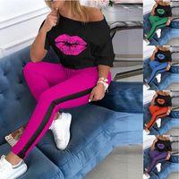 إمرأة قطعتين رياضية الشفاه نمط 1/2 كم القمصان وعادية المرقعة السراويل الربيع الصيف النساء الزي الملابس