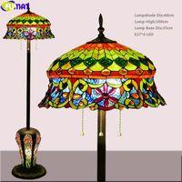 Fumat Tiffany Style Gemelli Lampada da terra in vetro colorato Vetro Francese Finestre Light Classico Multi Colorato Illuminazione Arte decorativa per la casa