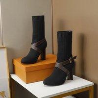 디자이너 애프터 게임 마틴 부츠 여성 양말 발목 마틴 부츠 스트레치 신발 하이힐 실루엣 발목 부츠 겨울 신발