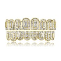 Hip Hop Rock big Teeth Grill All Iced Out CZ Stone Micro Paved Men Women's Top&Bottom Grills Set