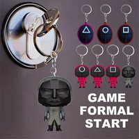 5% Squid Game Keychain Decompression Toy Soldier Triangle Series Creative Charms Mini Doll Figurine Key Ring Car Backpack Pendant