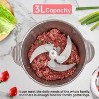 2 Speeds 12000RPM 3L Electric Meat Grinder Kitchen Chopper 304 Stainless Steel Mincer Food Processor Garlic Crusher Slicer