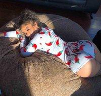 Designer Mulheres Pajama Nightwear Playsuit Botão de Exercício Skinny Impressão Quente Jumpsuits V-Pescoço Curto Onesies Macacões 881-10