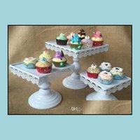 컵케익 Bakeware 부엌, 다이닝 바 홈 Garden16cm, 20cm, 24cm 스퀘어 프레임 흰색 레이스 높이 스탠드 철 케이크 트레이 파티 suppiles 드롭 deliv