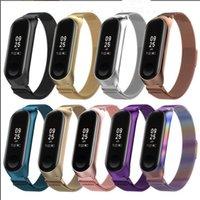 Magnetisk slinga metallband + ram armband rostfritt stål klocka armband mesh rem ersättning för Xiaomi Mi 3 4 svart