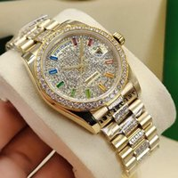 Men and women automatic mechanical watches 36mm sapphire rainbow literal watchband drill ring stainless steel folding buckle waterproof