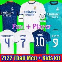 Real Madrid 2122 Jerseys de futebol Hazard Camisas de futebol Alaba Sergio Ramos Benzema Asensio Modric Marcelo Camiseta Men + Kid Kitch 20 21 22 Uniformes Quarto