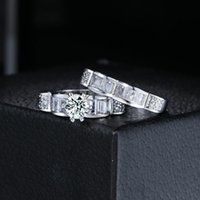 Wedding Rings Double Fair Purple Six-claw Zircon CZ Crystal Elegant Engagement Set For Women Fashion Brand Jewelry YG010