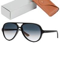 أعلى جودة 4125 القطط 5000 أشعة الشمس نظارات الرجال النساء الرجعية نظارات الشمس النايلون الإطار عدسات الزجاج الحزم الأصلية تصميم القط