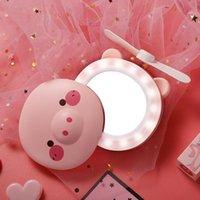 Espejo de maquillaje con espejo de cosméticos LED Mini portátil para maquillaje de belleza 2 en 1 mini ventilador de refrigeración de mano USB recargable