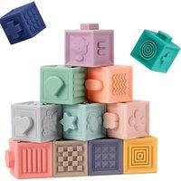 Bambino giocattolo morbido Building Blocks 3D Tocco a mano palline Massaggio Gomma Teati Spremere Sensory Montessori Bath Toys per bambini regalo