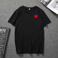 21ss Mens T Shirt Qulity cuello europeo americano pequeño rojo corazón impresión impresión camiseta hombres mujeres parejas