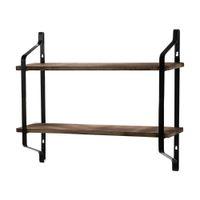 2 Tiers Floating Shelves Wall Mounted Industrial Wall Shelves Wood Storage Shelf Bathroom Kitchen Living Room