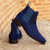 Men's Shoes Fashion Handmade Faux Suede Leather Boots Low Heel Stylish Casual Slip-on Chelsea Zapatos 4M890 211023