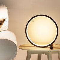 Lampada da tavolo a led di controllo tattile per camera da letto Camera da letto 5W Circolare in alluminio Desk in alluminio Lampada da scrivania 3 Light Color USB Charging Night Light