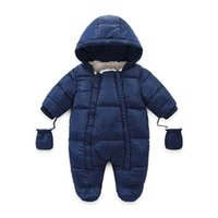 Baby Rompers Autumn Winter Newborn Jumpsuit Boys Girls Jumpsuits Hooded Long Sleeve Bodysuits Infant One Piece Clothing Toddler Onesies Kids Clothes Gloves B7183