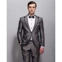 Men's Suits & Blazers Wedding Suit Black Edge Jacket As Groom Tuxedos Groomsman Custom Made Man For Clothes (Jacket+pants)