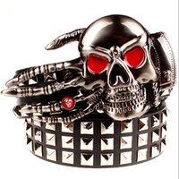 2021 Novo Big Big Rivet Skull Mão de deus Metal Fivela Cintos Devil Eyes Osso Ghost Garra Cinto Estilo Mostrar Cinturão Homens Hzbm