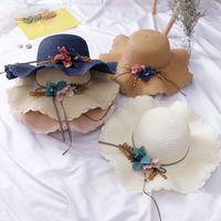 Fashion Enfants Enfants Sun Hat Girl Summer Fleur Floral Design Plage Chapeaux Plat Cap 4-8y Mignon Toddler Girl Accessoires Chapeau 2020 127 Q2