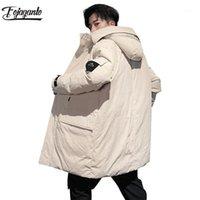 Мужские Parkas Fojaganto мужская зима с капюшоном Длинная куртка мода бренд удобная верхняя одежда мужская сплошное цветное пальто Menswearm1