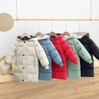 Hylkidhuose Kış Kız Erkek Kar Palto Çocuk Rüzgar Geçirmez Giyim Kapşonlu Açık Kalınlaşmak Sıcak Çocuklar Yastıklı Ceket 210812