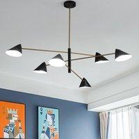 Chandeliers Postmodern Chandelier For Living Room Black And Gold Lustre Bedroom E14 Bulb Lighting Simple Modern Fixtures WF1028